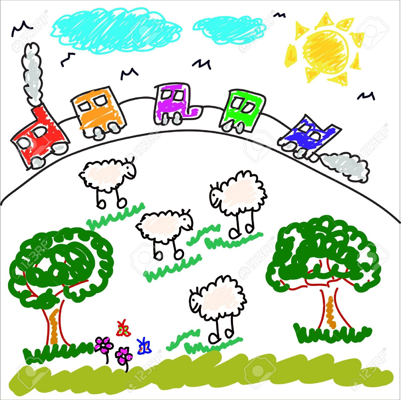Kids Drawing Train at GetDrawings.com | Free for personal use Kids ...