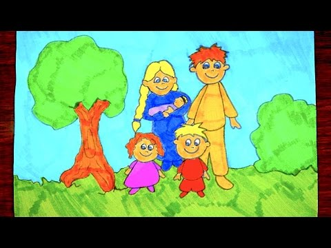 480x360 How To Draw A Family Kids Coloring Video
