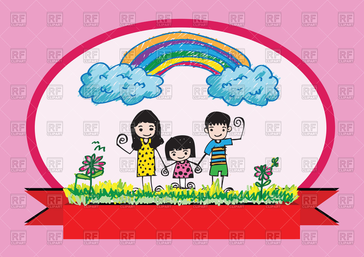 1200x848 Kids Drawing Happy Family Picture Royalty Free Vector Clip Art