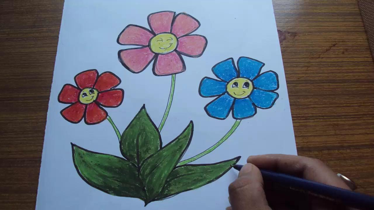 1280x720 How To Draw Cartoon Flowers For Kids Using Pastel