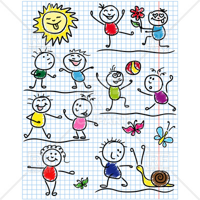 400x400 Amusing Scenes With Childish Drawing Kids Royalty Free Vector Clip