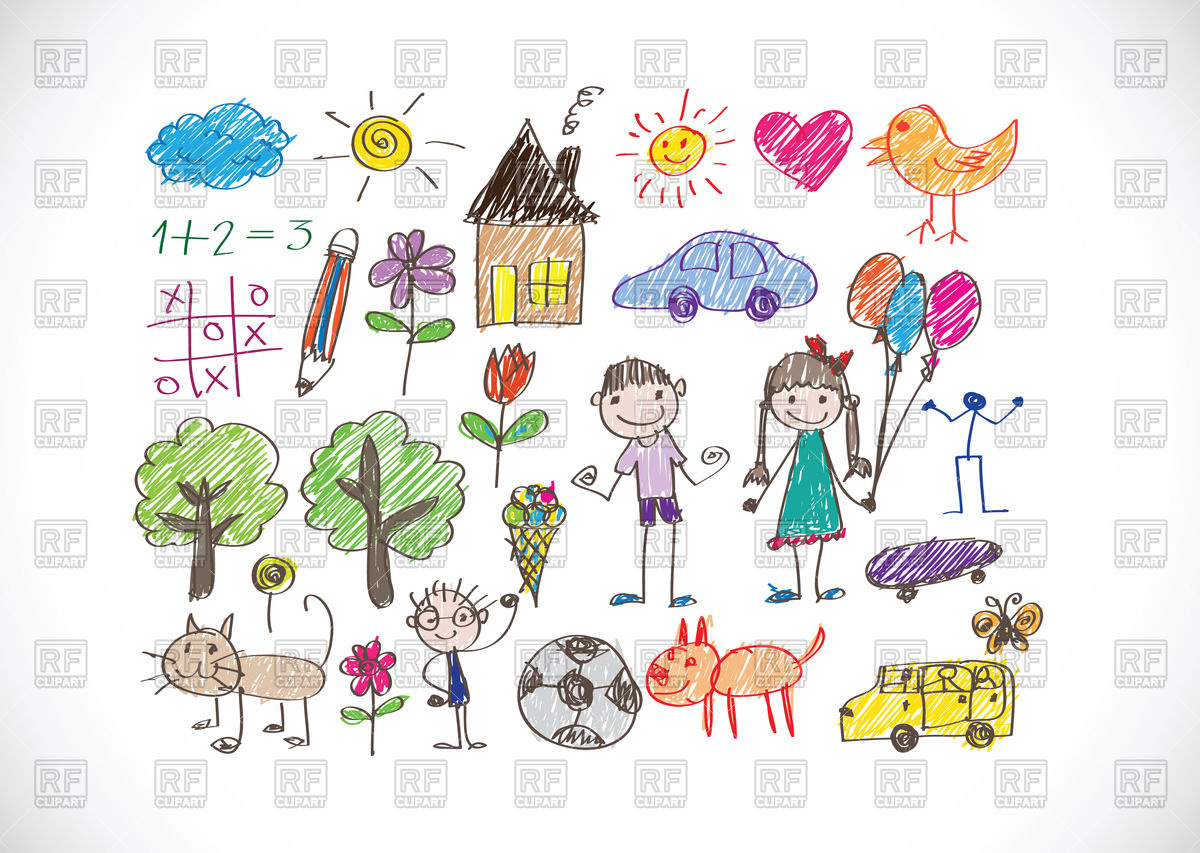 1200x853 Kid's Drawing With Happy Family Royalty Free Vector Clip Art Image