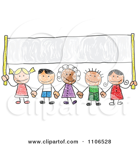 450x470 Clipart Stick Drawing Of Multi Ethnic Children Holding Hands Under