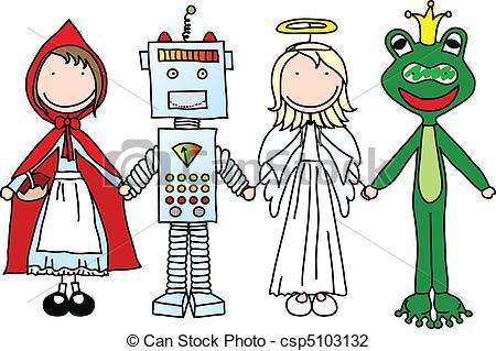 450x319 Happy Kids. Kids Holding Hands In Halloween Costumes (Part