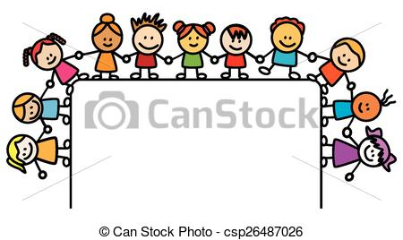 450x268 Kids Holding Hand With Banner Vector Illustration