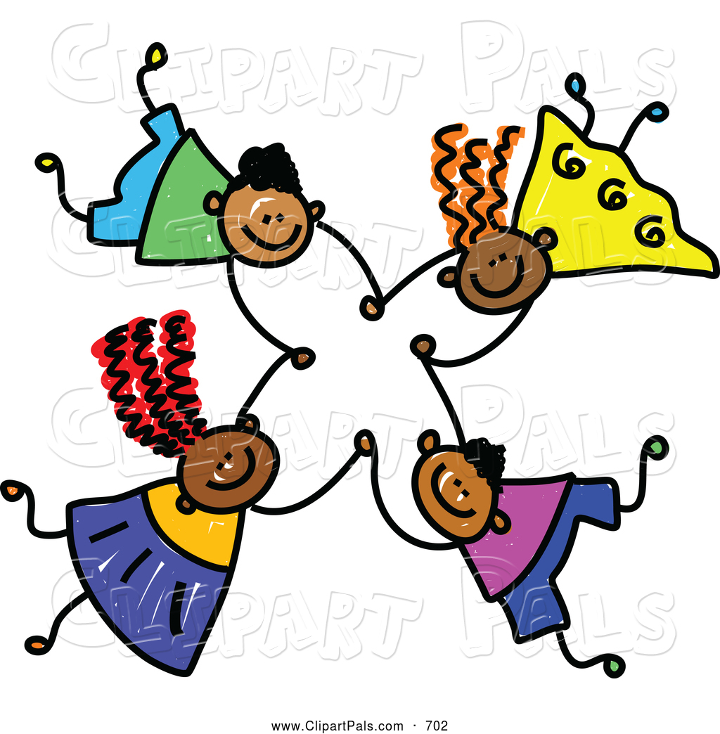 1024x1044 Pal Clipart Of A Childs Sketch Of Four Grinning Kids Holding Hands