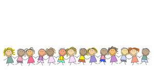 300x156 Kids Drawing, Children Holding Hands Illustration Royalty Free
