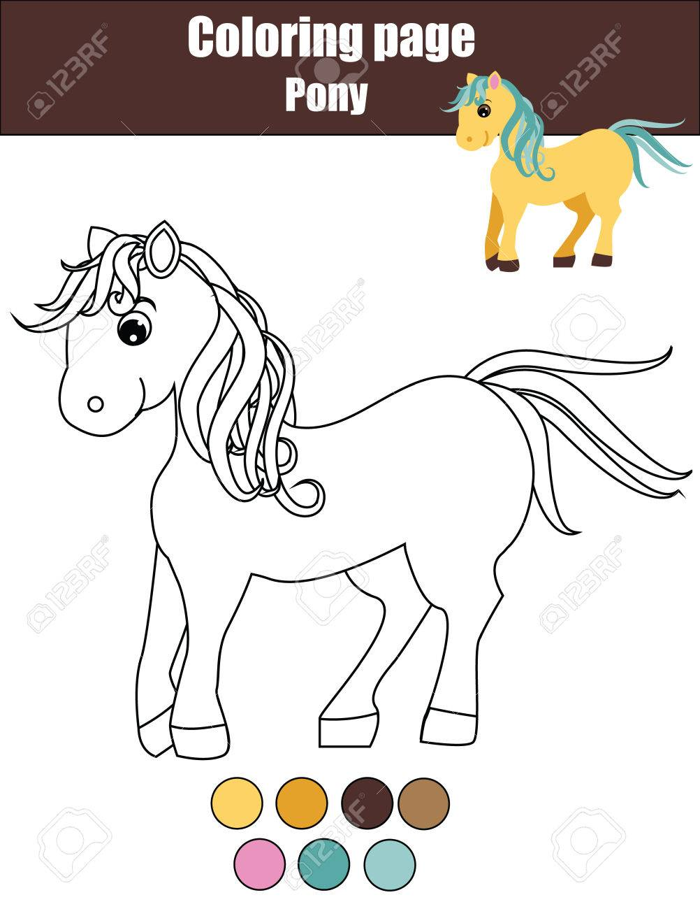 1002x1300 Coloring Page With Cute Pony. Color The Little Horse Drawing
