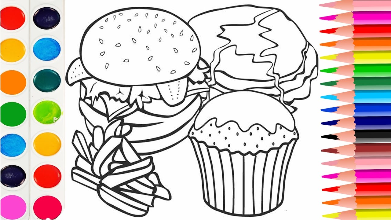 1280x720 How To Draw Fast Food Cheeseburger Coloring Book For Kids Learning