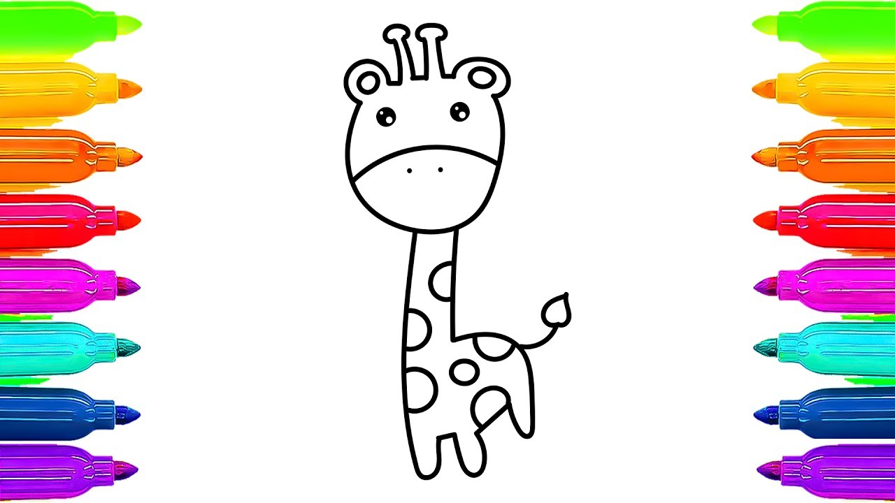 1280x720 How To Draw Giraffe Coloring Pages For Kids Animals Learning