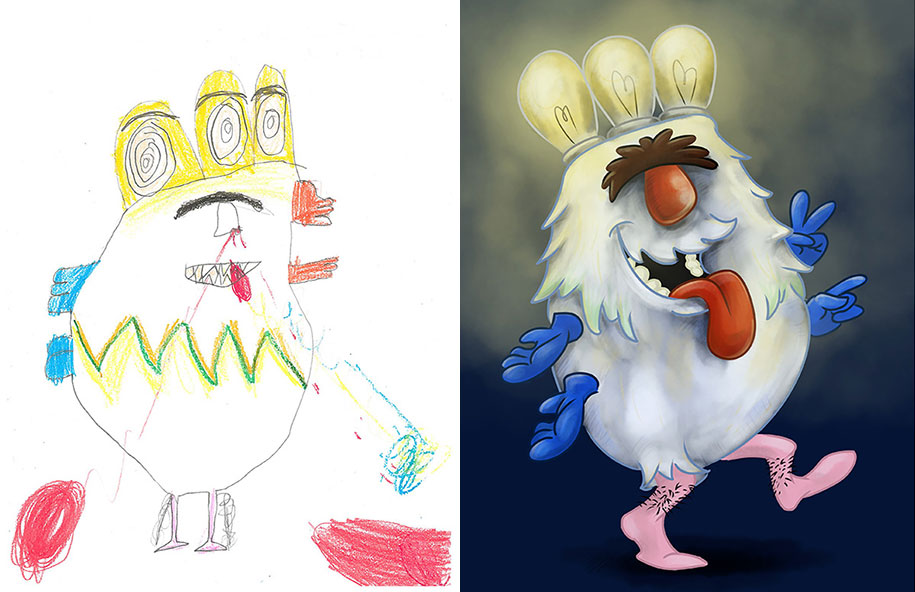 915x592 Artists Redraw Kids' Doodles Of Scary Monsters In Their Own