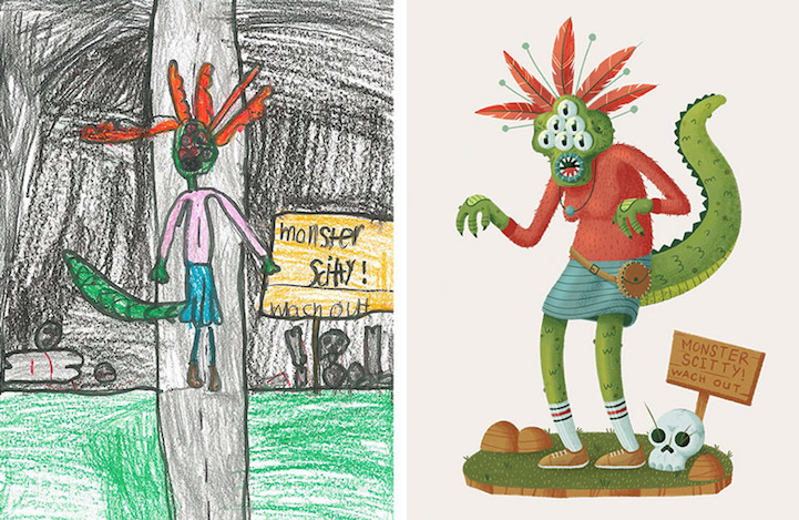 721x469 Artists Give New Life To Children's Monster Drawings To Encourage