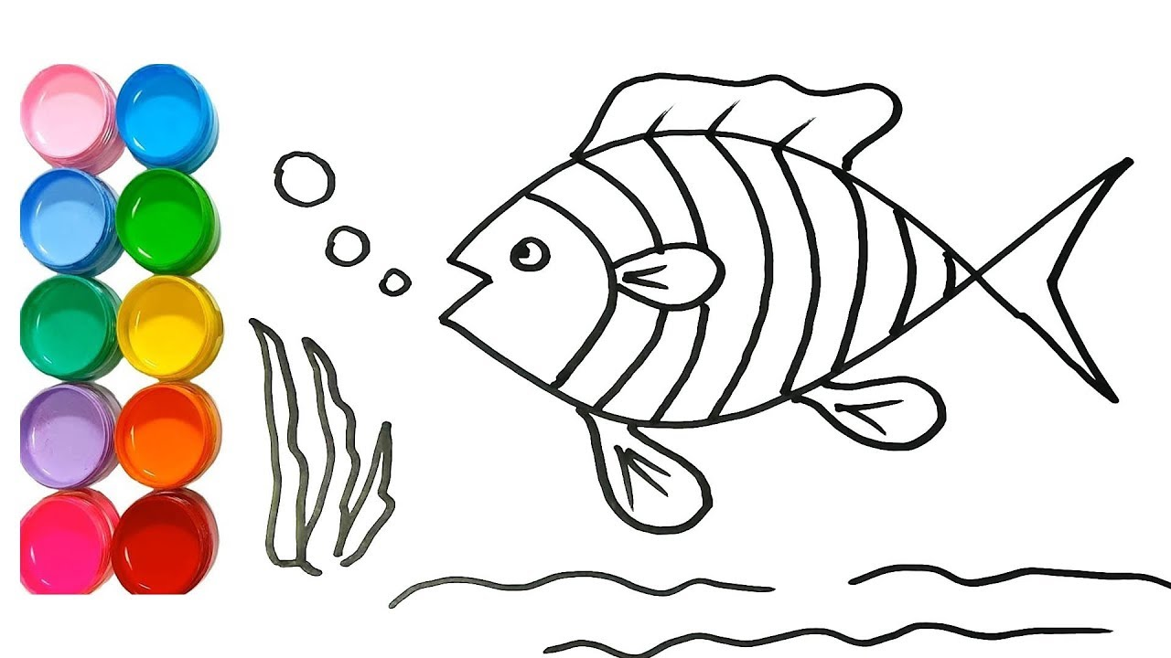 1280x720 Drawing For Kids How To Draw Fish Amp Painting Learn Colors