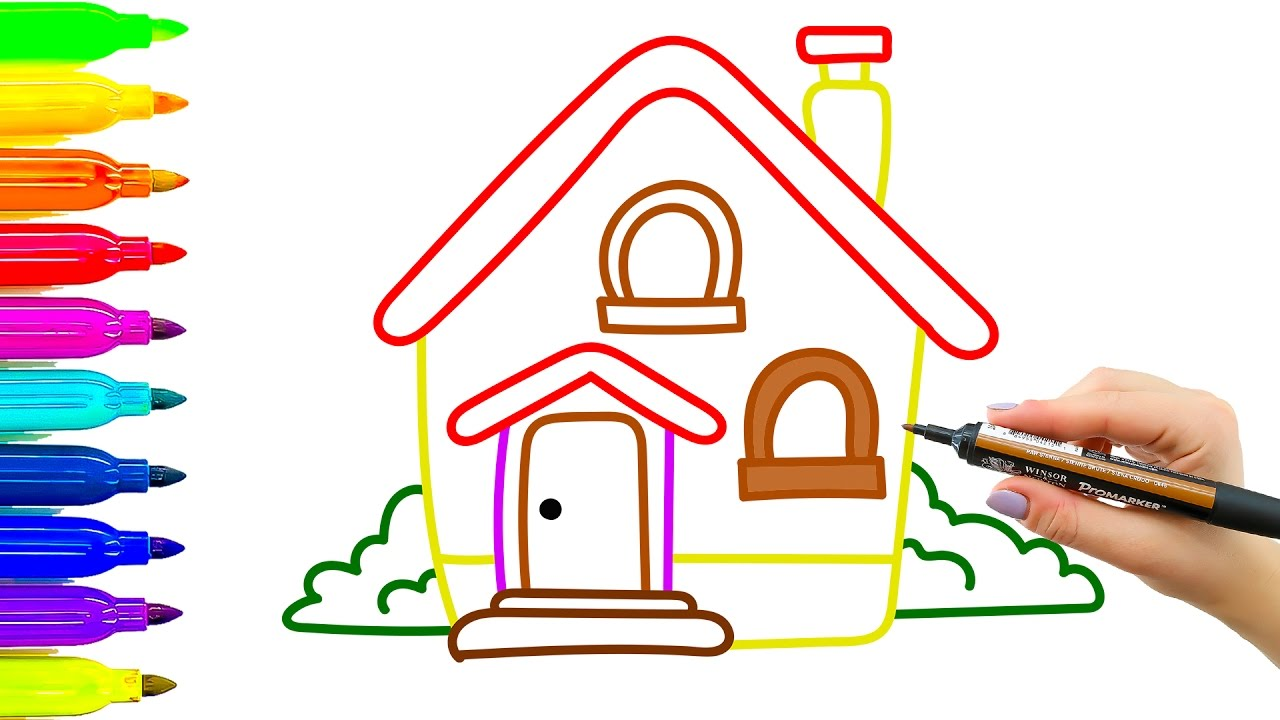 1280x720 House Drawing Coloring For Kids. How To Learn To Draw
