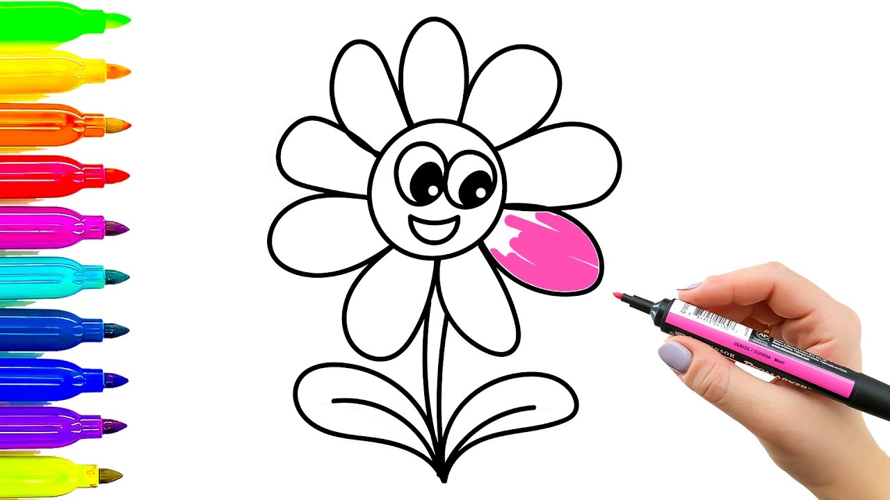 1280x720 How To Draw Funny Flower Simple Examples Of Painting For Kids