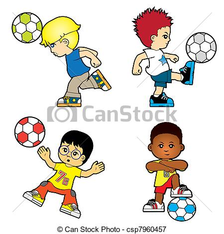 450x470 Children. Four Boys Playing Football Vectors Illustration