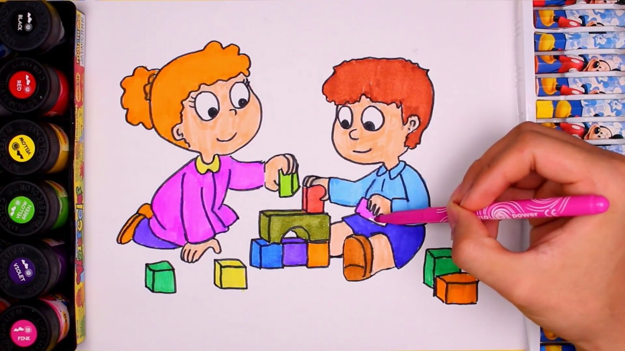 1280x720 Drawing And Colouring Kids Playing By Water Colors Learning Colors