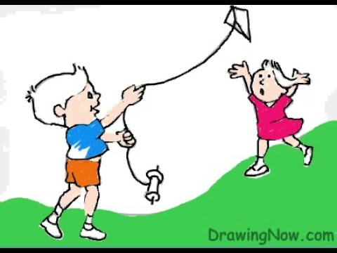 480x360 How To Draw Kids Flying A Kite