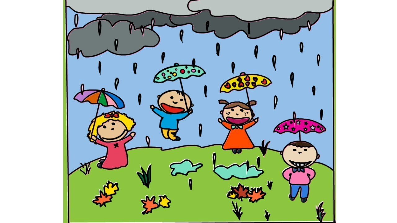 1280x720 How To Draw Kids Playing In The Rain Landscape Drawing Yzarts