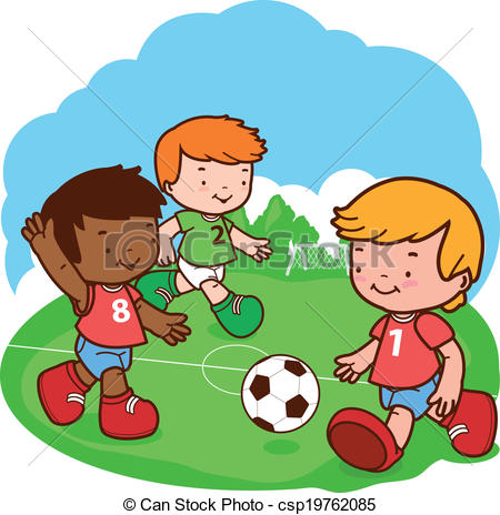 450x464 Kids Playing Soccer. Three Little Boys Play Football. Vector