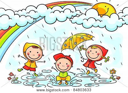 450x326 Stock Photo Of Kids Playing In The Downpour, Royalty Free Images
