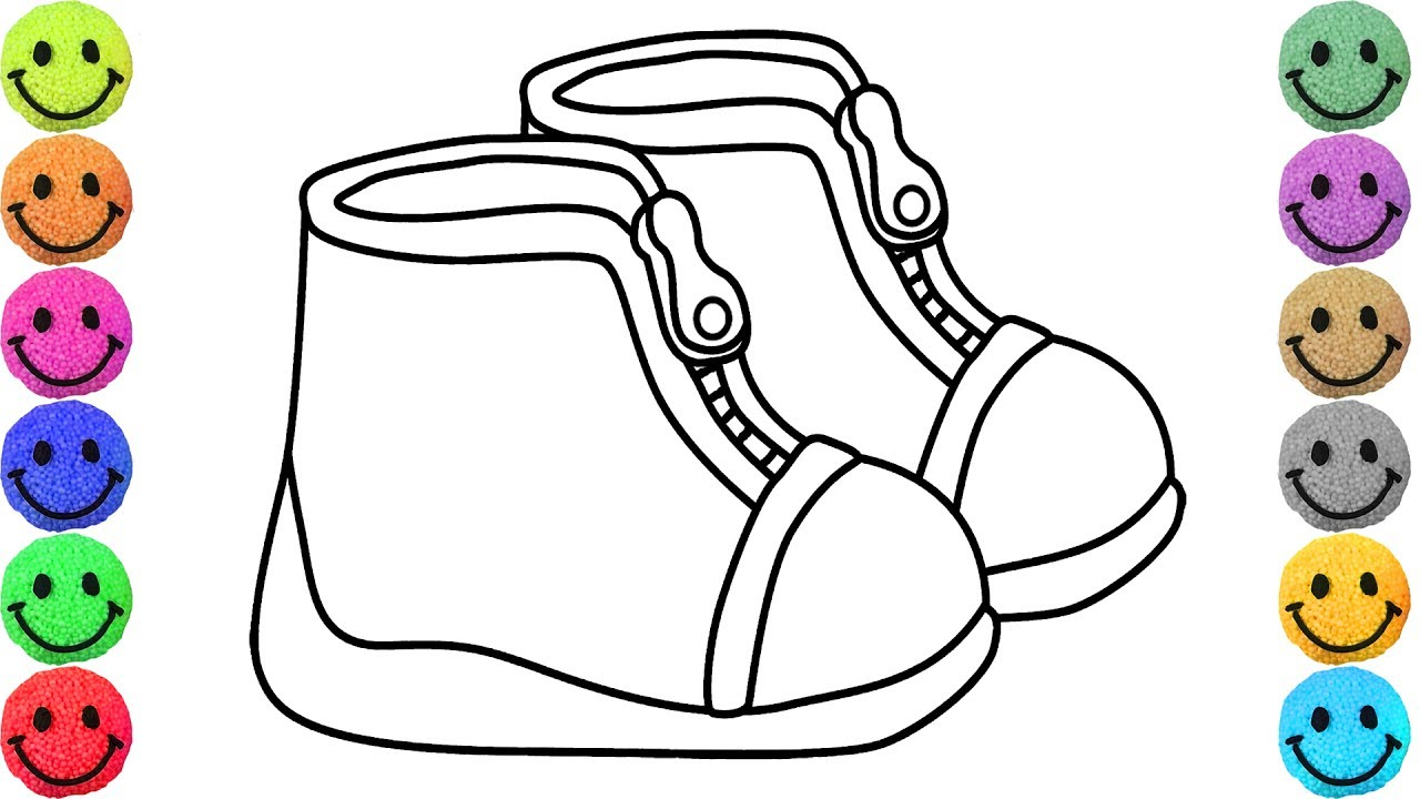1280x720 Coloring For Kids Shoes Drawing And Colours For Children'S