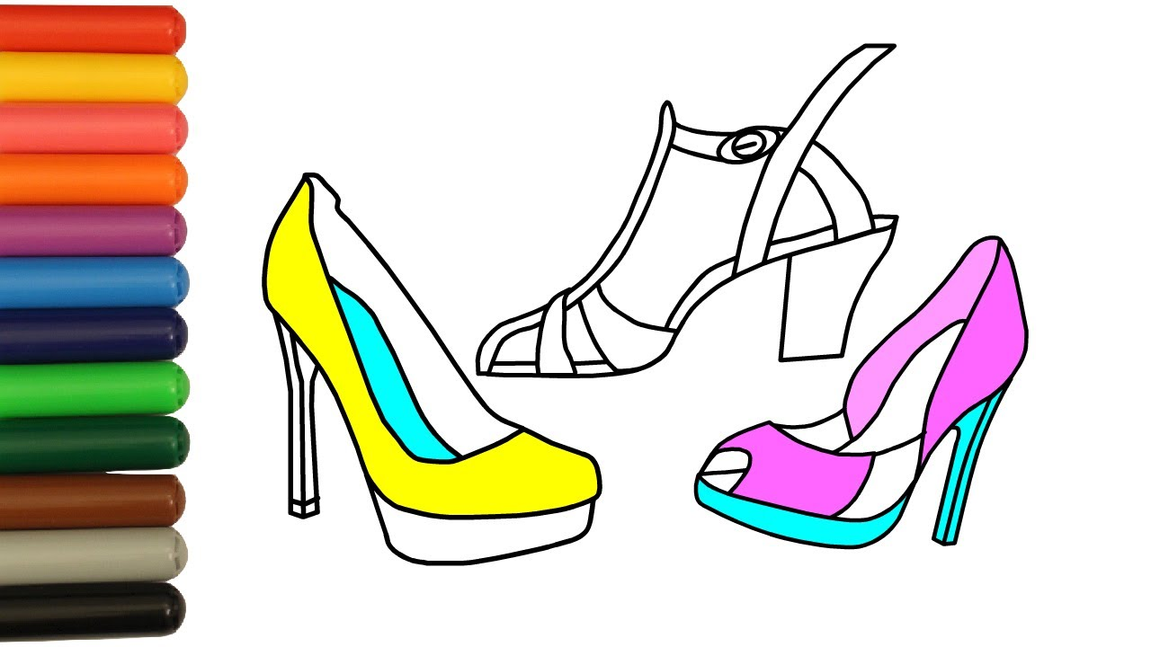 1280x720 Coloring For Kids Women's Shoes Drawing And Colours For Children
