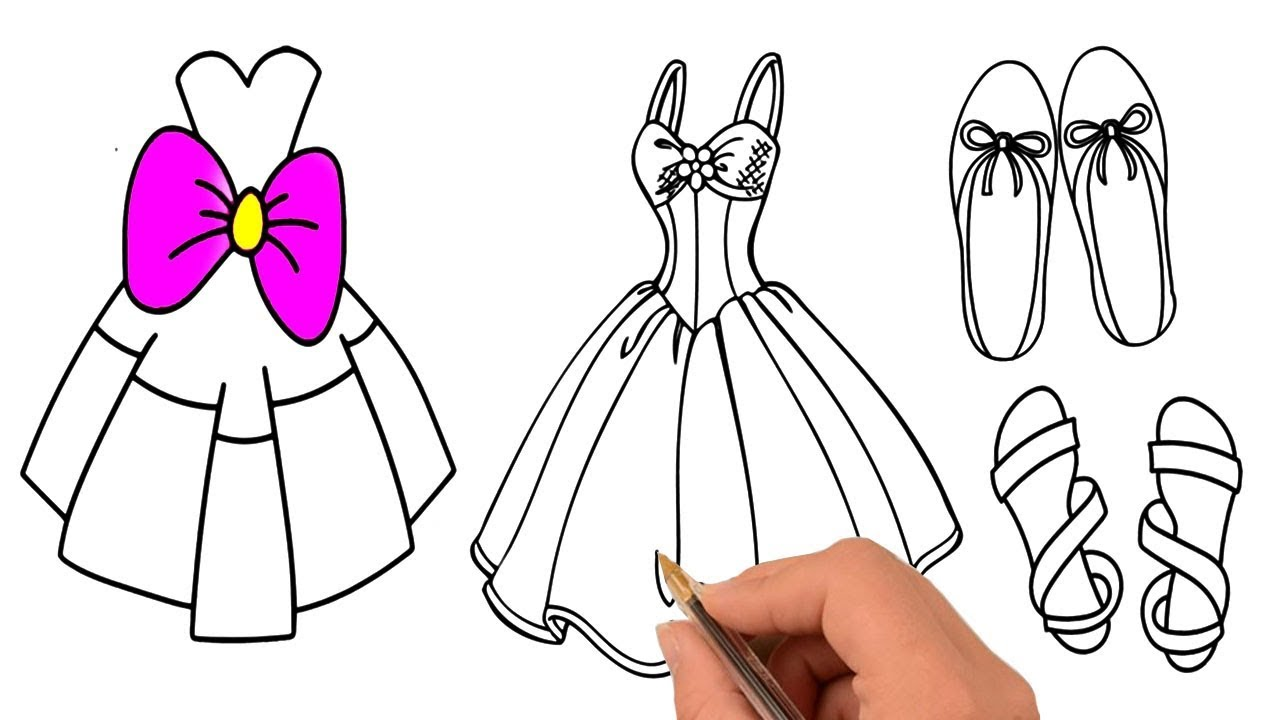 1280x720 Drawing And Coring Accessories For Girls, How To Draw Dress