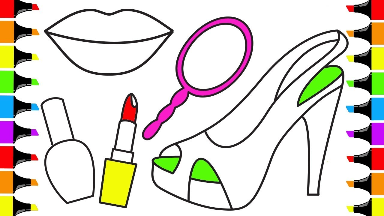 1280x720 How To Draw Accessories For Girls Lipstick Nail Polish Mirror Lips
