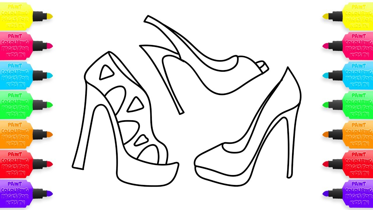 1280x720 How To Draw Womens Shoes Coloring Pages For Girls Learning