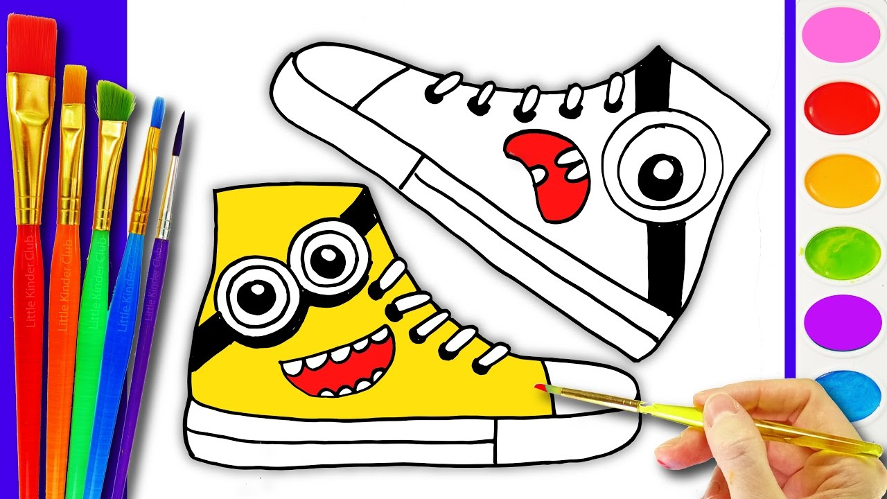 1280x720 How To Draw And Paint Kids Shoes Drawing Pages To Color For Kids L