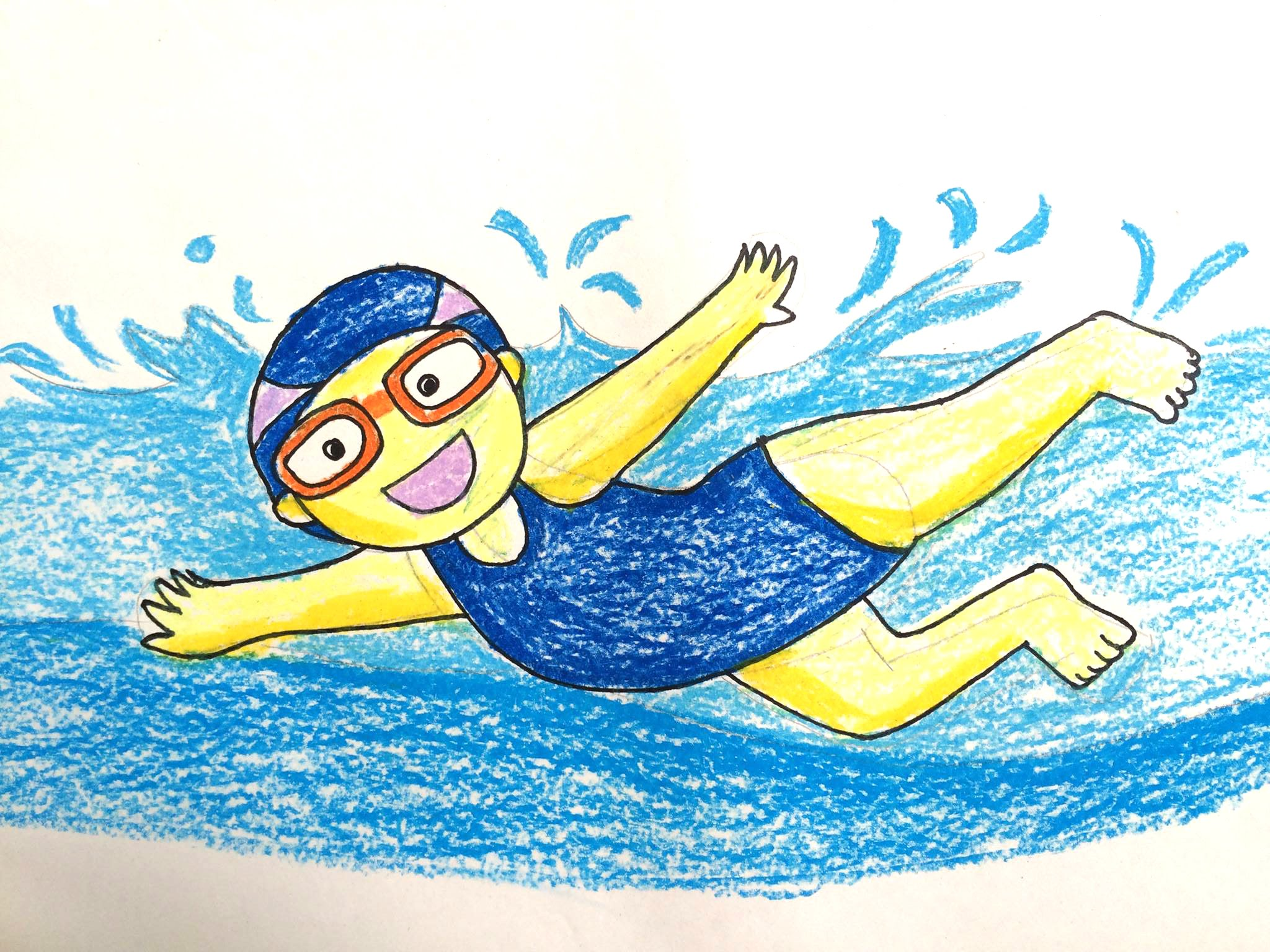 Kids swimming drawing at free for for Swimming pool drawing