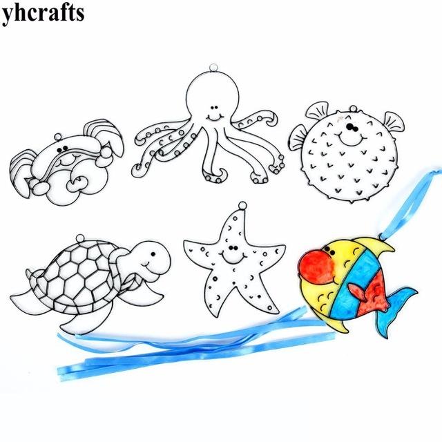 640x640 12pcslot.plastic Ocean Animal Sun Catcher Hanger Drawing Toys