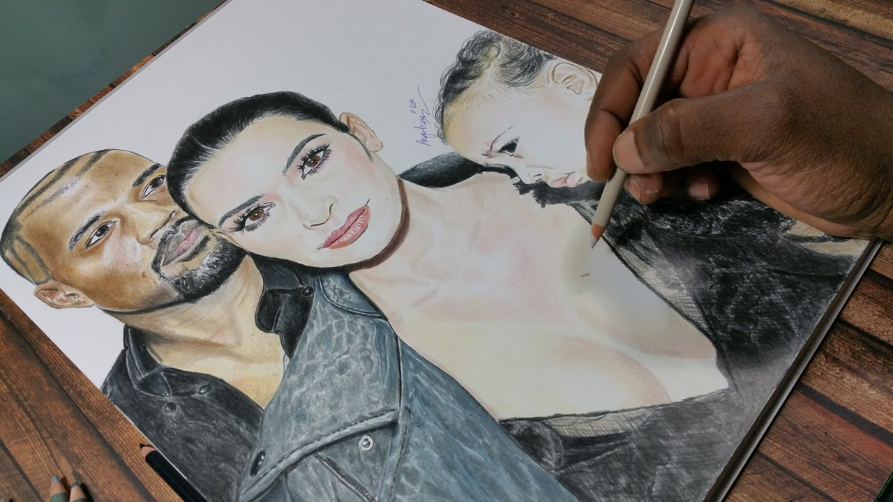 1280x720 Drawing Kanye West, Kim Kardashian And North West