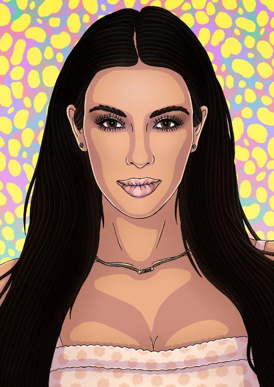 550x777 Kim Kardashian Art Print Cool Art Kardashian, Draw