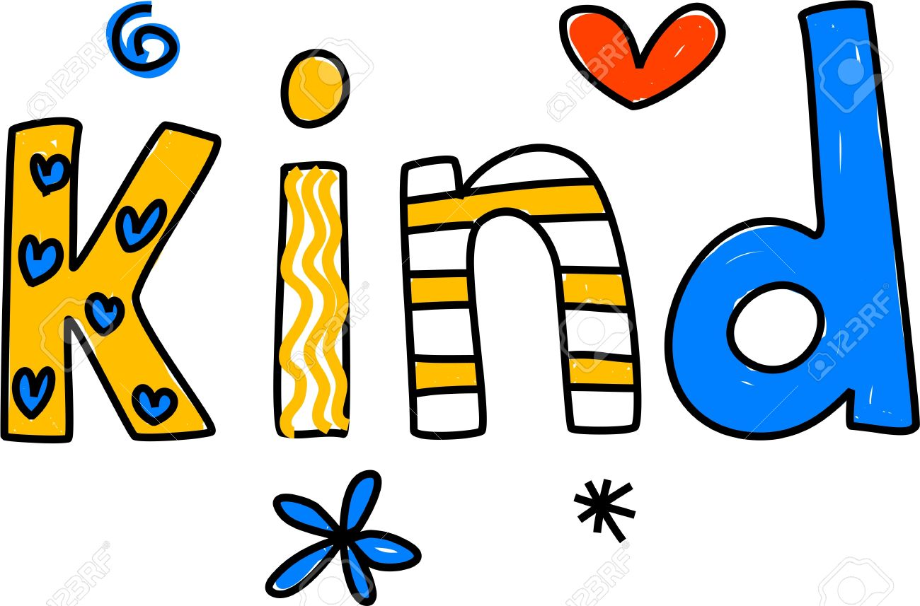 1300x857 Whimsical Drawing Of The Word Kind Isolated On White Stock Photo