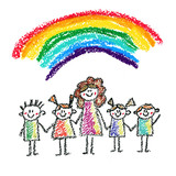 160x160 Children With Teacher Or Mother Kids Drawing Illustration
