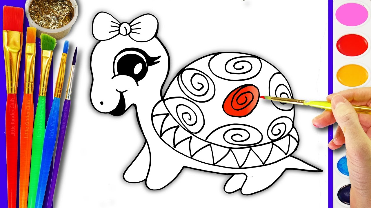 1280x720 Drawing And Coloring Turtle Coloring Pages For Kids Learn