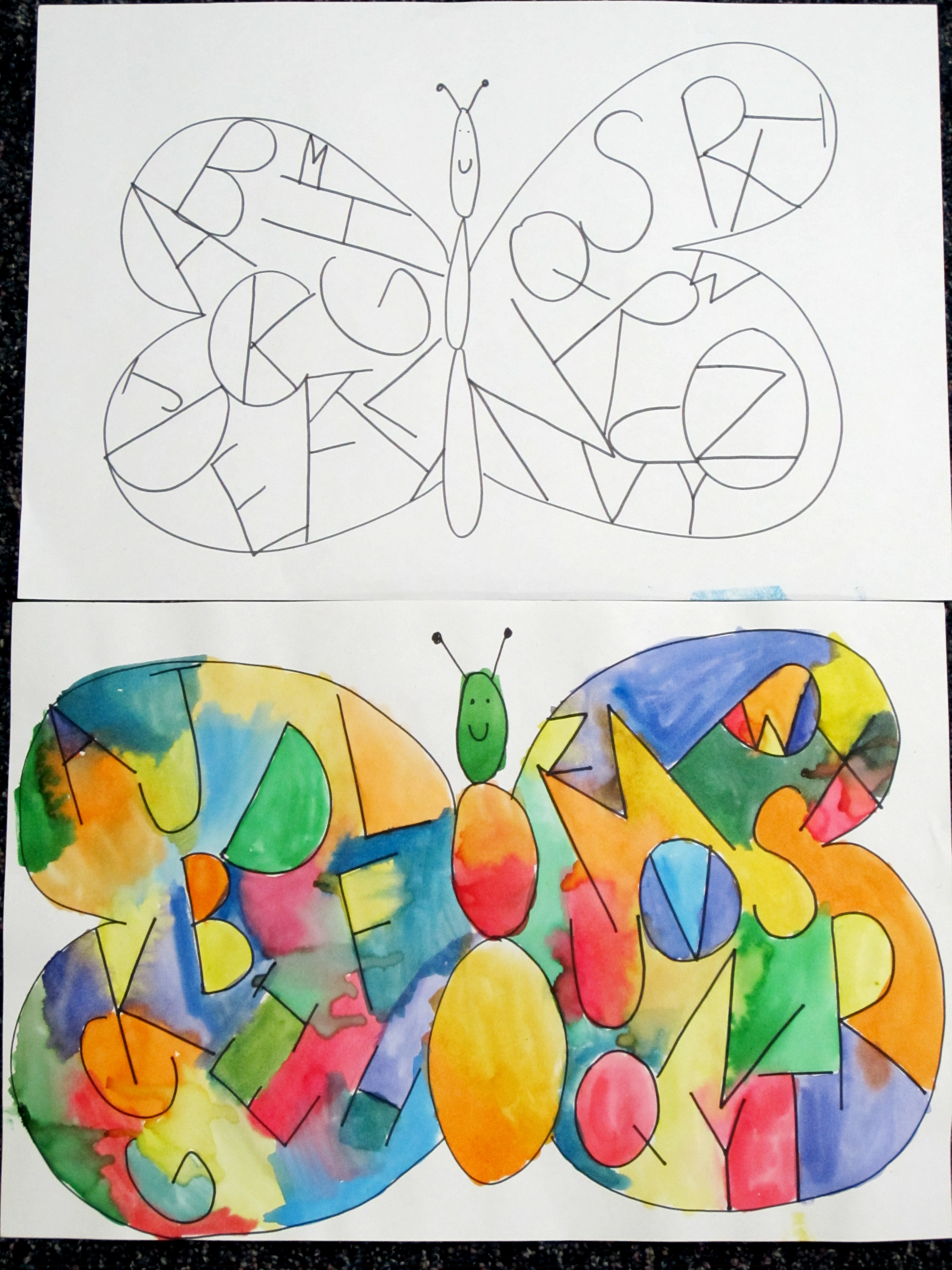 3000x4000 Guided Drawing. Inside The Butterfly Wings Write The Alphabet. Go