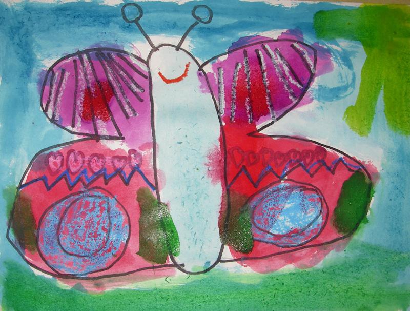 800x606 Mirror Symmetry, Crayon Resist And Crayon Technique. Kindergarten