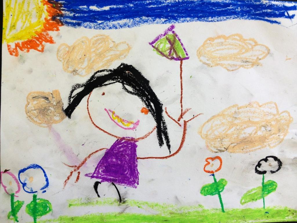 1024x768 It's Not A Stick It's A Kite. Craypas Drawing. Kindergarten, 2012