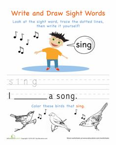 236x296 Write And Draw Sight Words Girl Worksheets, Kindergarten Sight