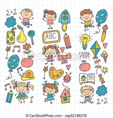 450x470 Kids Drawing Kindergarten School Happy Children Play Vectors