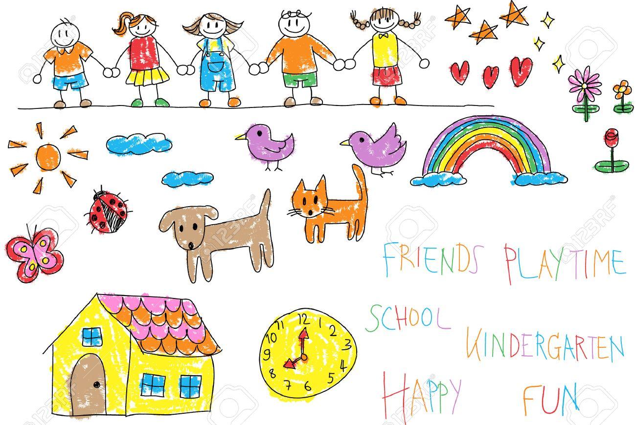 1300x870 Kindergarten Children Doodle Pencil And Crayon Color Drawing