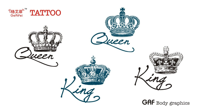 1358x767 Ge Yifei Tattoo King And Queen Crown Alphabetical Men Waterproof