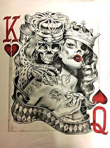 224x300 Awesome King Queen Of Hearts Badass White Medium Playing Cards