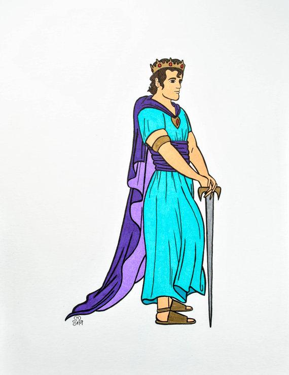 570x739 Items Similar To Bible Character Drawing King David On Etsy