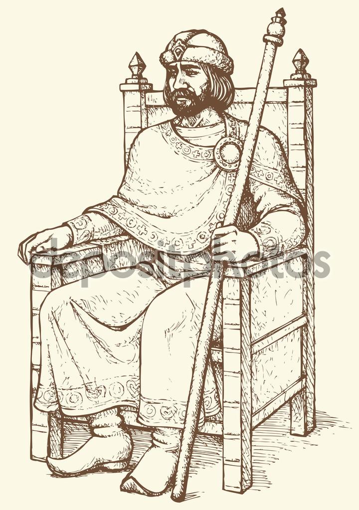 720x1023 King On Throne. Vector Drawing Stock Vector Marinka