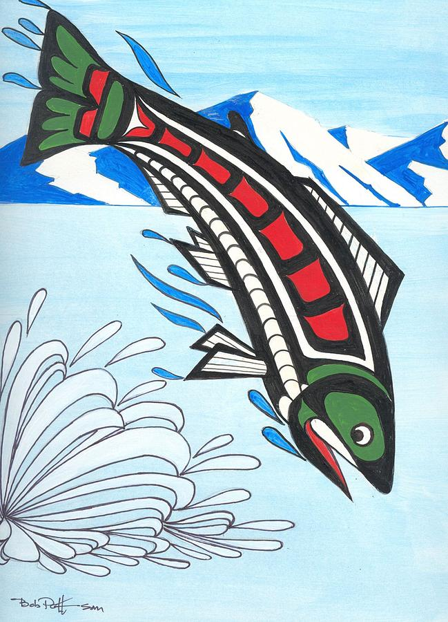 649x900 Jumping King Salmon Painting By Bob Patterson
