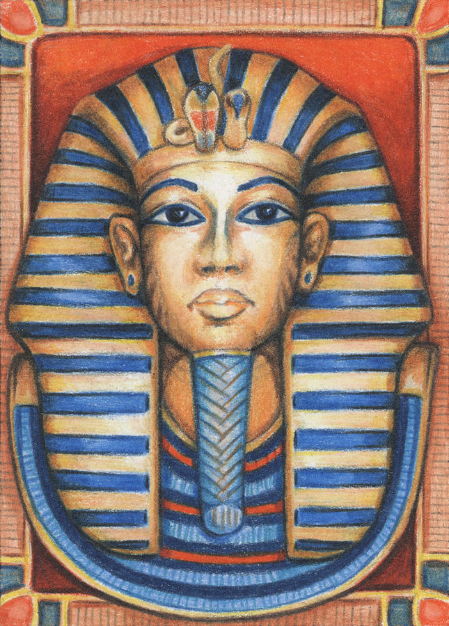 645x900 Tut's Golden Mask Drawing By Amy S Turner